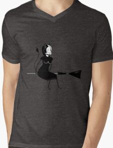 Witch Sitting on a Broom Mens V-Neck T-Shirt