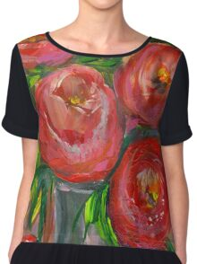 Abstract Tulips in Vase Chiffon Top