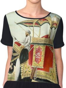Vintage Decorated Elephant With Howdah Painting Chiffon Top