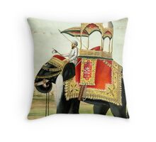 Vintage Decorated Elephant With Howdah Painting Throw Pillow