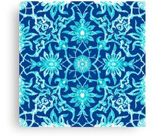 Art Nouveau Chinese Tile, Turquoise and Blue Canvas Print