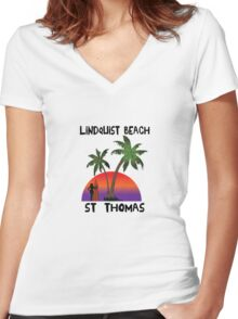 Lindquist Beach St. Thomas Women's Fitted V-Neck T-Shirt