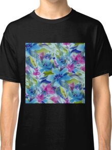 Pink Blue And Green Watercolors Flowers Pattern Classic T-Shirt
