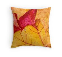 Red maple leaves background Throw Pillow