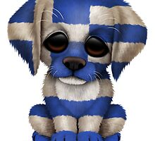 Cute Patriotic Greek Flag Puppy Dog by Jeff Bartels