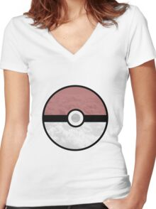 Pokemon Pokeball Clouds Women's Fitted V-Neck T-Shirt