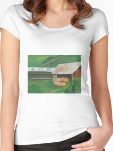 Vermont, red barn Women's Fitted Scoop T-Shirt