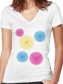 Bright Flowers Women's Fitted V-Neck T-Shirt