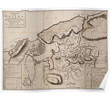 Vintage Map of Havana Cuba (1762) 2 Poster