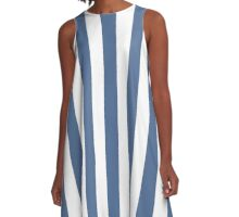 Riverside Blue and White Large Vertical Cabana Tent Stripe A-Line Dress