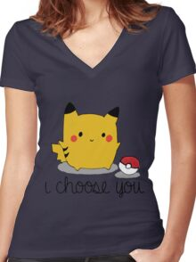 I CHOOSE YOU PIKACHU Women's Fitted V-Neck T-Shirt