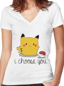 I CHOOSE YOU PIKACHU Women's Fitted V-Neck T-Shirt