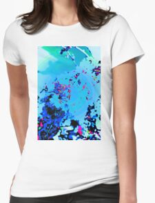 Abstract Spring Blossom, Blue. Womens Fitted T-Shirt