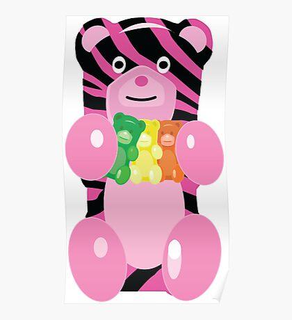 Zebra Print Gummy Bear holding Gummy Bears Poster