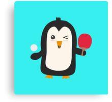 Penguin table tennis   Canvas Print