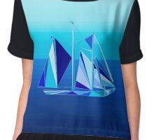 Geometric Sailboat / Yacht, Cobalt Blue Chiffon Top