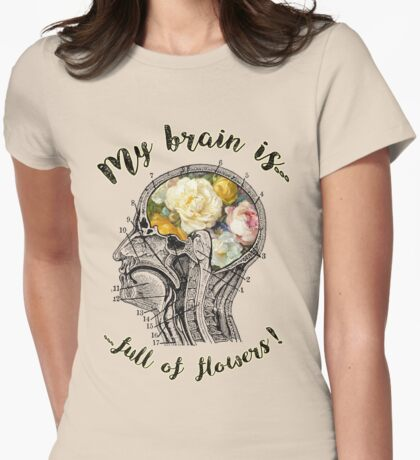 Brain Full Of Flowers Dictionary Art Womens Fitted T-Shirt