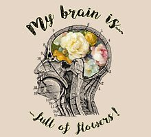 Brain Full Of Flowers,Human Anatomy,Vintage Illustration,Dictionary Art Womens Fitted T-Shirt