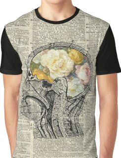 Brain Full Of Flowers Dictionary Art Graphic T-Shirt