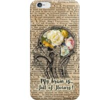 Brain Full Of Flowers,Human Anatomy,Vintage Illustration,Dictionary Art iPhone Case/Skin