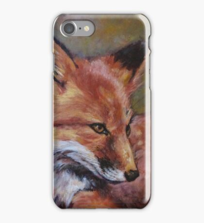 Wildlife Fox Painting by Kathy iPhone Case/Skin