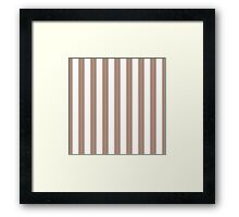 Warm Taupe and White Large Vertical Cabana Tent Stripe Framed Print
