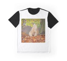Wheaten Terrier Dog Sniffing in Leaves Graphic T-Shirt