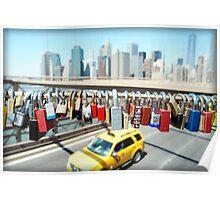 Love locks on Brooklyn Bridge Poster