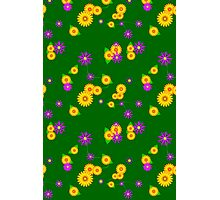 Viney Floral on Green Photographic Print