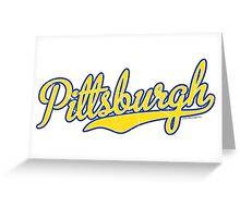 Pittsburgh Script Blue  Greeting Card