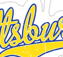 Pittsburgh Script Blue  Sticker
