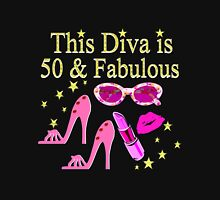 THIS DIVA IS 50 AND FABULOUS FUN DESIGN Women's Fitted Scoop T-Shirt