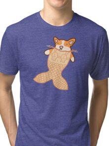 Mermaid Corgi Tri-blend T-Shirt