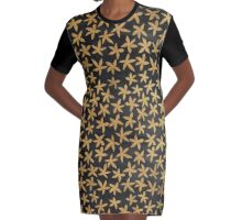 Gold floral on black chalkboard Graphic T-Shirt Dress