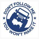 Dont Follow Me You Wont Make It. Blue by Tony  Bazidlo