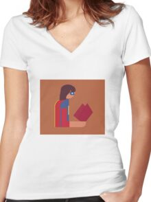 Ms. Lady Reads Women's Fitted V-Neck T-Shirt