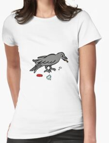 Crow Eating Cigarette Womens Fitted T-Shirt