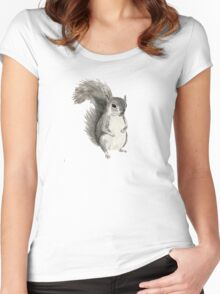black and white squirrel drawing Women's Fitted Scoop T-Shirt