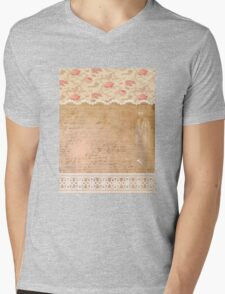Rustic, collage,parchment,lace,floral fabric, typography Mens V-Neck T-Shirt