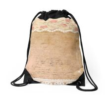 Rustic, collage,parchment,lace,floral fabric, typography Drawstring Bag