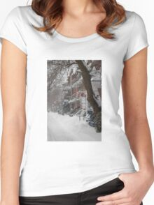 Montreal Winter Scene Women's Fitted Scoop T-Shirt