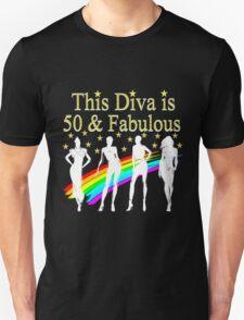 AWESOME 50 YEAR OLD DIVA RAINBOW DESIGN Unisex T-Shirt
