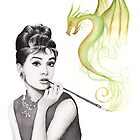 Audrey Hepburn Portrait Watercolor Dragon by OlechkaDesign