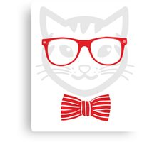 Hipster Nerd Cat - Humor Funny T Shirt Canvas Print