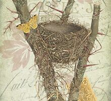 Vintage Bird Nest Illustration - French Ephemera Collage - Rustic Woodland - Apiary Illustration by traciv