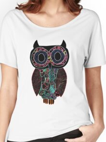 Glowing Owl - black background Women's Relaxed Fit T-Shirt