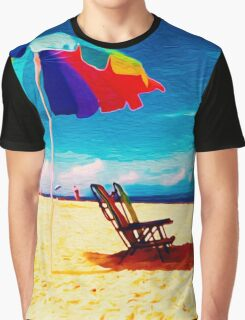 Beach Umbrella on the Sand Graphic T-Shirt