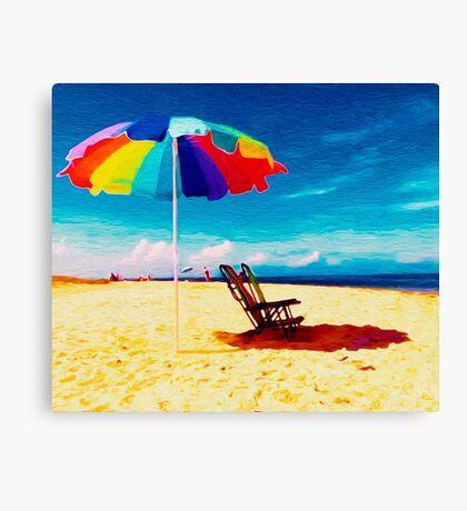 Beach Umbrella on the Sand Canvas Print