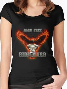 Born Free Ride Hard Women's Fitted Scoop T-Shirt