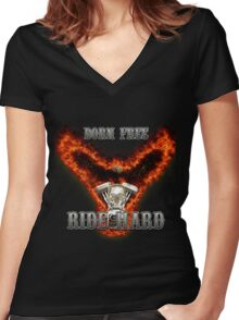 Born Free Ride Hard Women's Fitted V-Neck T-Shirt